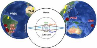 Epizentren von Erdbeben (rot) und die entsprechenden seismischen Messstationen (gelb). (Credit: Butler and Tsuboi (2021))