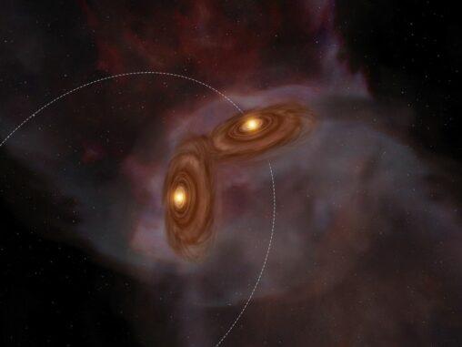 Künstlerische Darstellung des jungen Doppelsternsystems XZ Tauri. (Credit: ALMA (ESO / NAOJ / NRAO))
